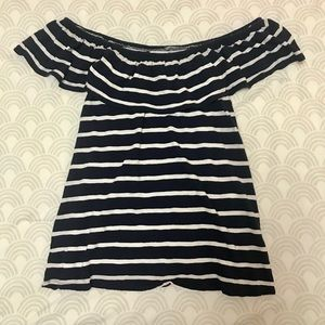 Navy and White Striped Off the Shoulder Top
